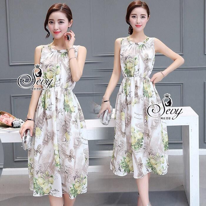 ชุด Maxi dress แขนกุด เนื้อผ้าพิมพ์ลายหอ eiffel และดอกไม้กับผีเสื้อ