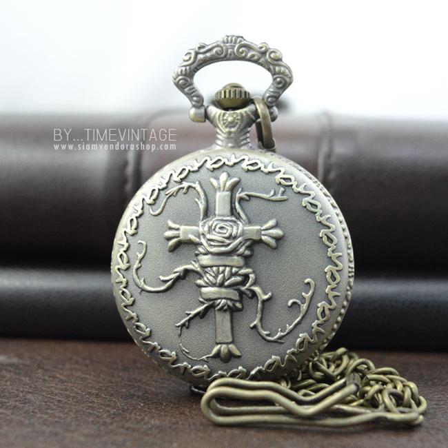 นาฬิกาพก LOCKET วินเทจลาย Gothic Rose วินเทจสีทองเหลือง ระบบถ่านควอทซ์ญี่ปุ่น