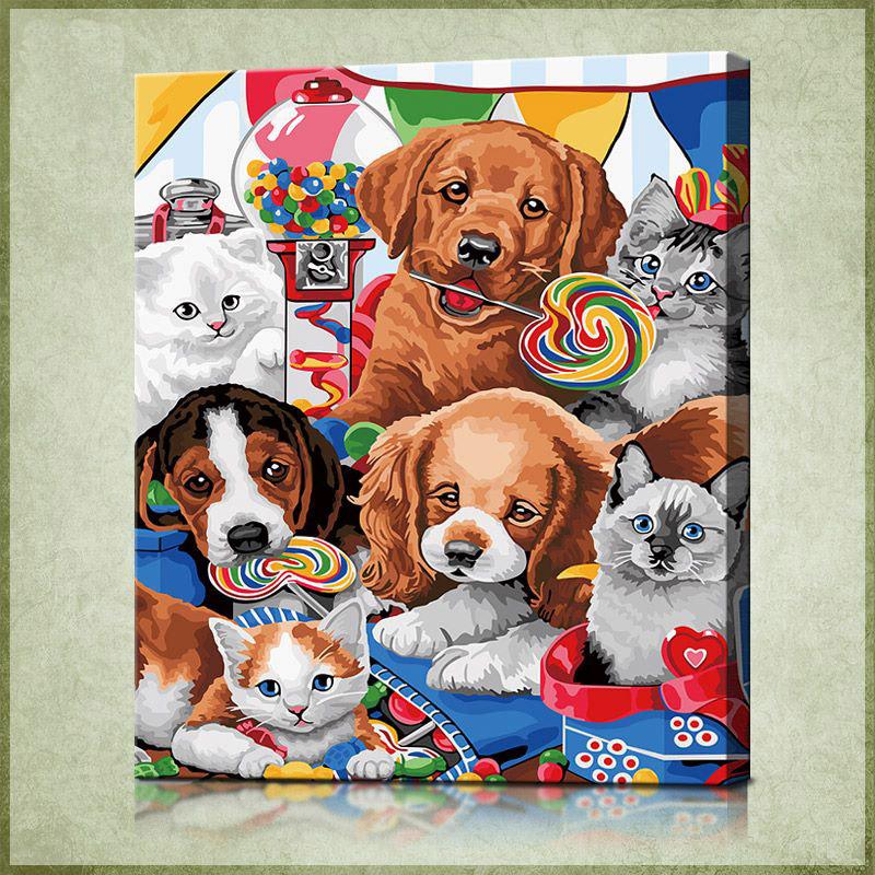 """TMC009 ภาพระบายสีตามตัวเลข """"แก๊งหมาแมวลุยขนม"""""""