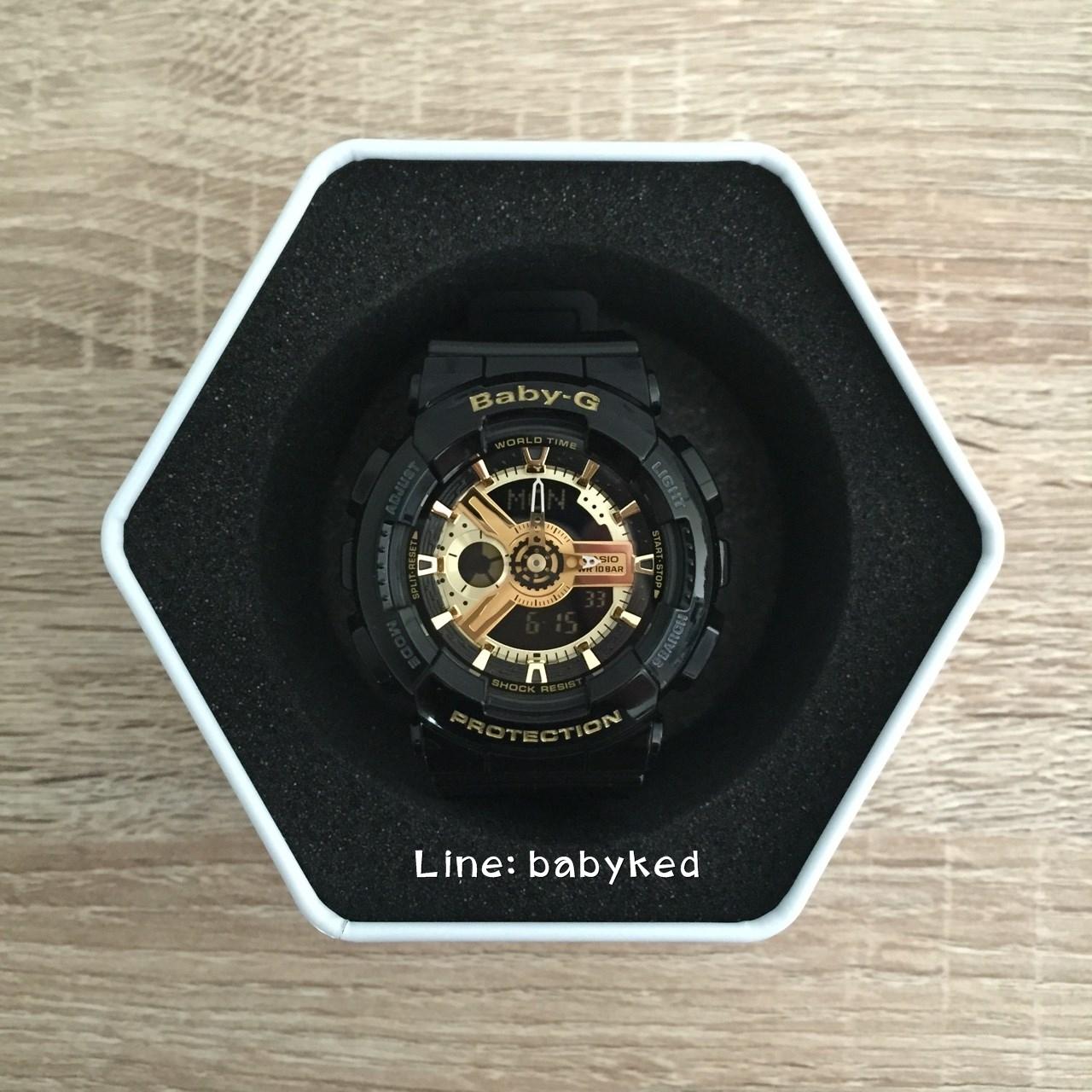 Baby-G ดำทอง BA-110-1 ของแท้100% ของใหม่อุปกรณ์ครบ 4,100 บาท