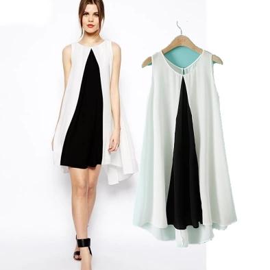 [Preorder] เดรสแฟชั่นแขนกุดสไตล์ยุโรป โทนสีขาวดำ (ไซส์ S M L) 2014 summer new big European and American minimalist black and white asos same paragraph stitching loose sleeveless dresses skirts