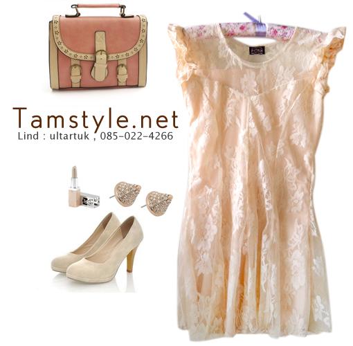 Dress111-เดรสแฟชั่น- เดรสผ้าลูกไม้แขนระบาย มีซับด้านใน หน้าอกเป็นผ้าซีทรู สีครีมเข้ม รอบอก 32-34((พร้อมส่ง))