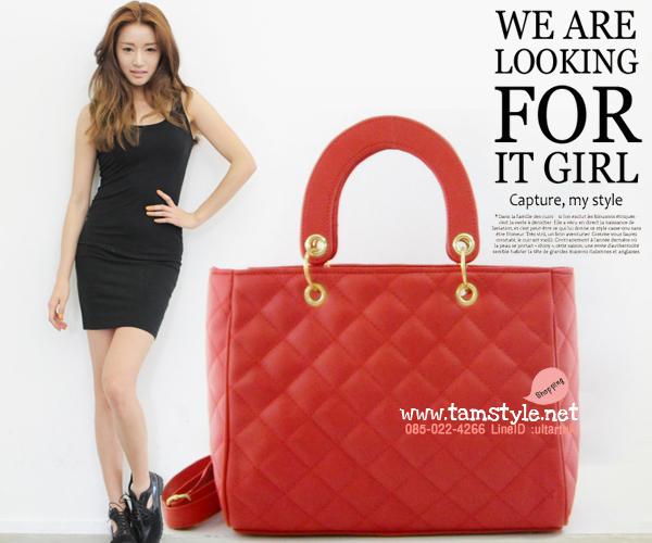 กระเป๋าถือพร้อมสายยาว เย็บลายตาราง เรียบหรูสไตล์ Dior lady สีแดง