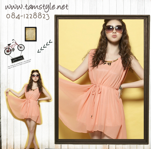 **หมดค่ะ Dress028-เดรสแฟชั่น- เดรสแขนกุด ผ้าชีฟอง สีส้ม ผูกเอว ประดับที่คอ ตัวนี้งามมมแท้ จ้า((เดรสแฟชั่นพร้อมส่ง))