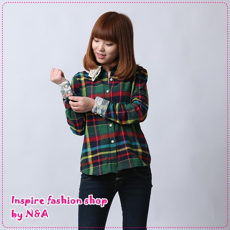 เสื้อเชิ๊ตแฟชั่นแขนยาวลายตารางสีเขียว 2012 spring new Korean version of cultivating long-sleeved hook lace collar plaid shirt, Ms. Cotton shirts