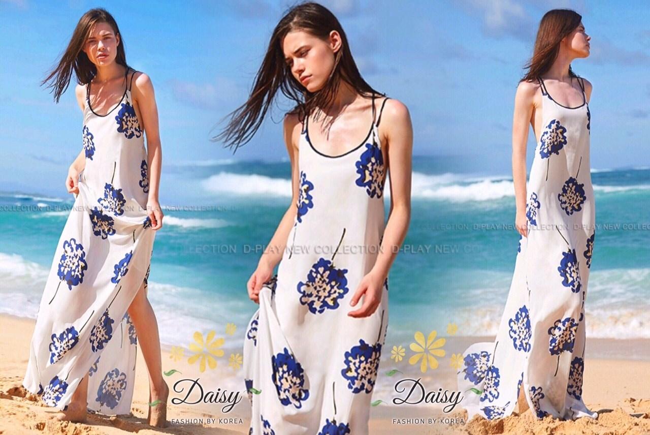 ชุดแมกซี่เดรสผ้าชีฟองแบบไขว่หลัง พิมพ์ลายดอกไม้สีน้ำเงิน
