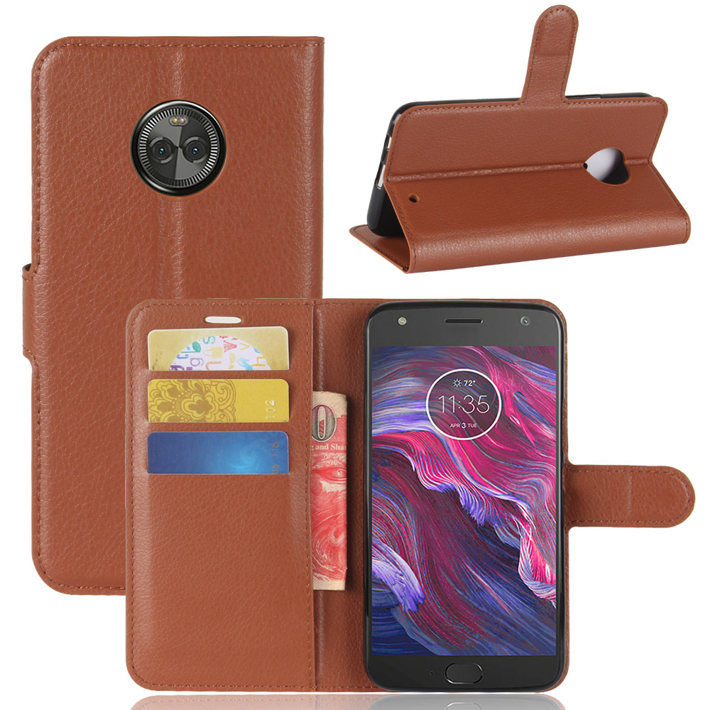 เคสฝาพับ Leather Wallet Case (Moto X4)