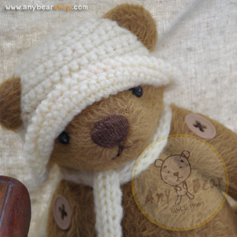 ตุ๊กตาหมีผ้าขนสีน้ำตาลกลางขนาด 19 cm. - Lilac