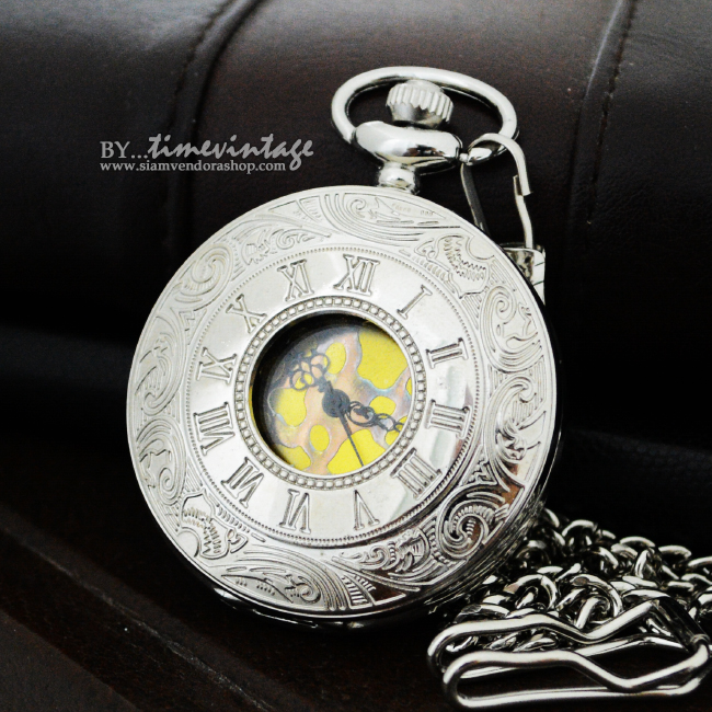 นาฬิกาพกโรมัน Classic Roman สีเงิน-Silver หน้าปัดทอง (พร้อมส่ง)
