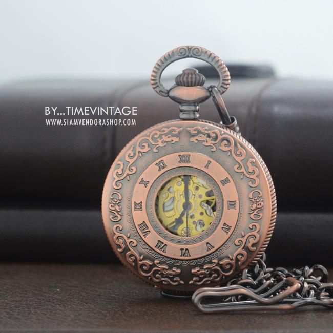 นาฬิกาพกกลไกไขลานตัวเรือนสี Rose Gold ลวดลาย red Lace เถาวัลย์