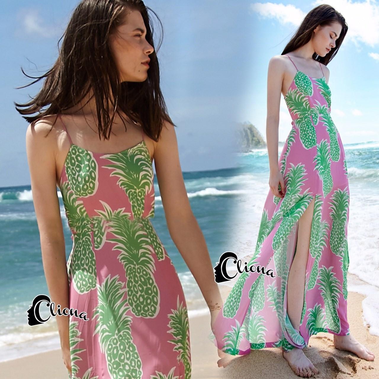 แม็กซี่เดรส ผ้าชีฟองพิมพ์ลายสัปรด สีชมพูเขียว