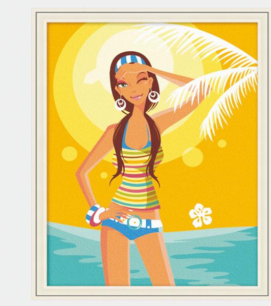 "TE029 ภาพระบายสีตามตัวเลข ""สาวสดใสริมทะเล"""