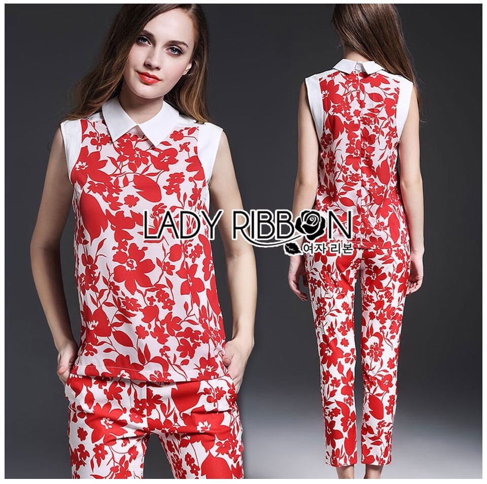 Set เซ็ตเสื้อและกางเกงขายาวขายาวมีปกพิมพ์ลายดอกไม้สีแดง