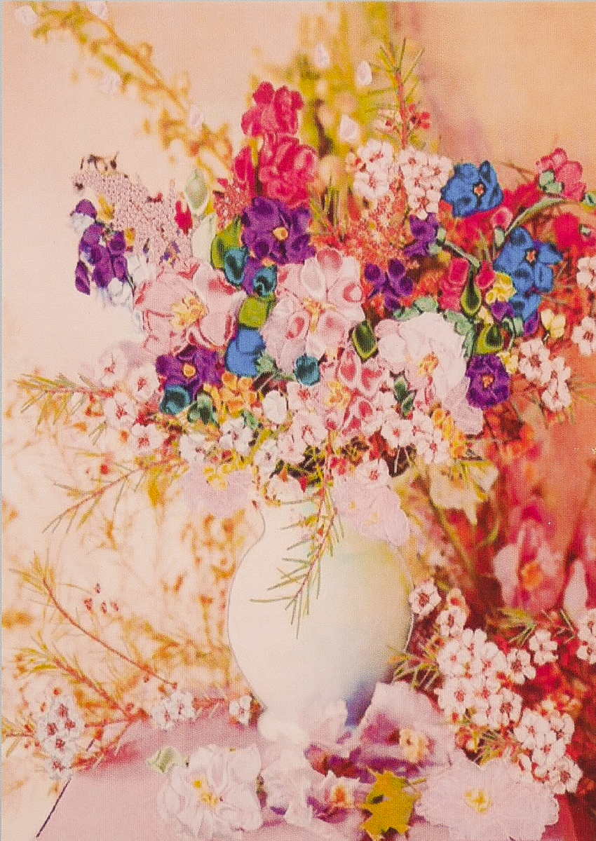 """CY017 ภาพ diamond ครอสติสคริสตัล """"ดอกไม้ในแจกันขาว"""""""