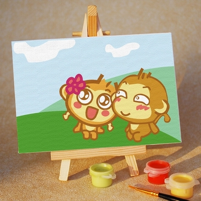 "TA061 ภาพระบายสีตามตัวเลข ""ลิงน้อยแฟนฉัน"""
