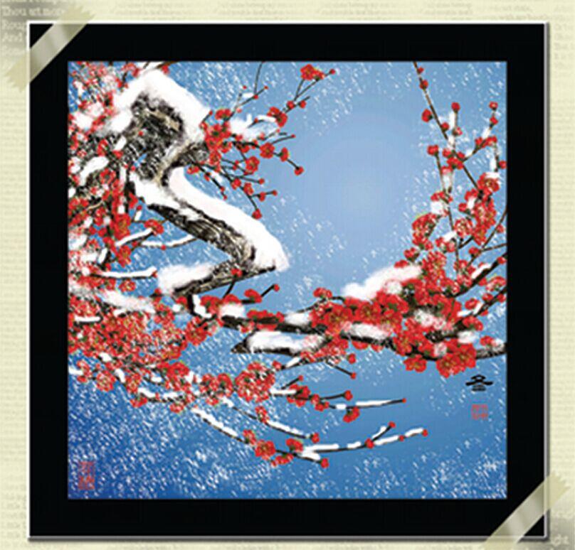 """1202 ภาพ diamond """"ดอกเหมยแดงกลางหิมะ"""""""