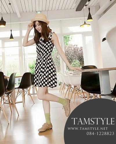 Dress009-เดรสแฟชั่น- เดรสแขนกุด ลายจุด ปกคอบัวสีขาว จั้มเอวยืดได้ถึง 30 cm น่ารักมากจ้า ((เดรสแฟชั่นพร้อมส่ง))