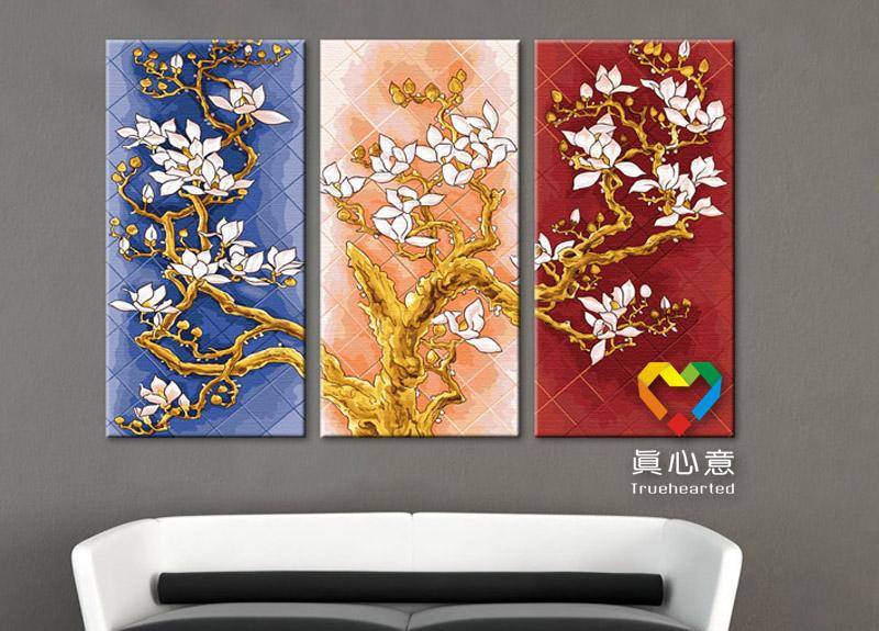"TV3004 ภาพระบายสีตามตัวเลขชุดพิเศษสีประกายทอง ""ดอกไม้สามฤดู"""