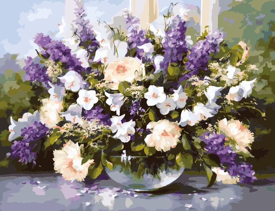"""MQ037 ภาพระบายสีตามตัวเลข """"ดอกไม้ม่วงในชามแก้ว"""""""