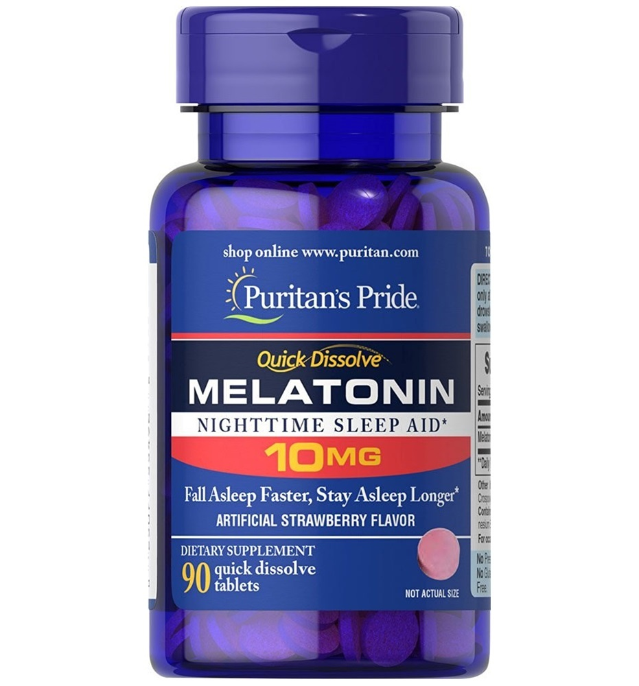 Puritan's Pride Quick Dissolve Melatonin 10mg Strawberry Flavor / 90 Tablets