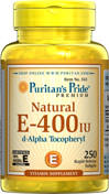 Puritan's Pride Natural Vitamin E-400 IU 250 Softgels