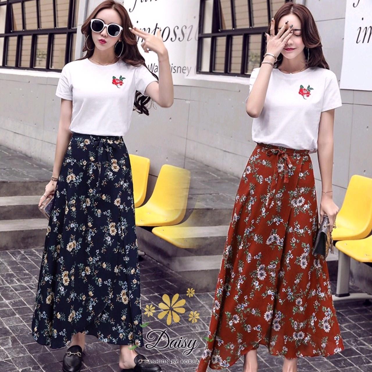 ชุดเซท เสื้อยืดปักลายกุหลาบ+ผ้าชีฟองเกาหลี ผ้าพิมพ์ลายดอกไม้