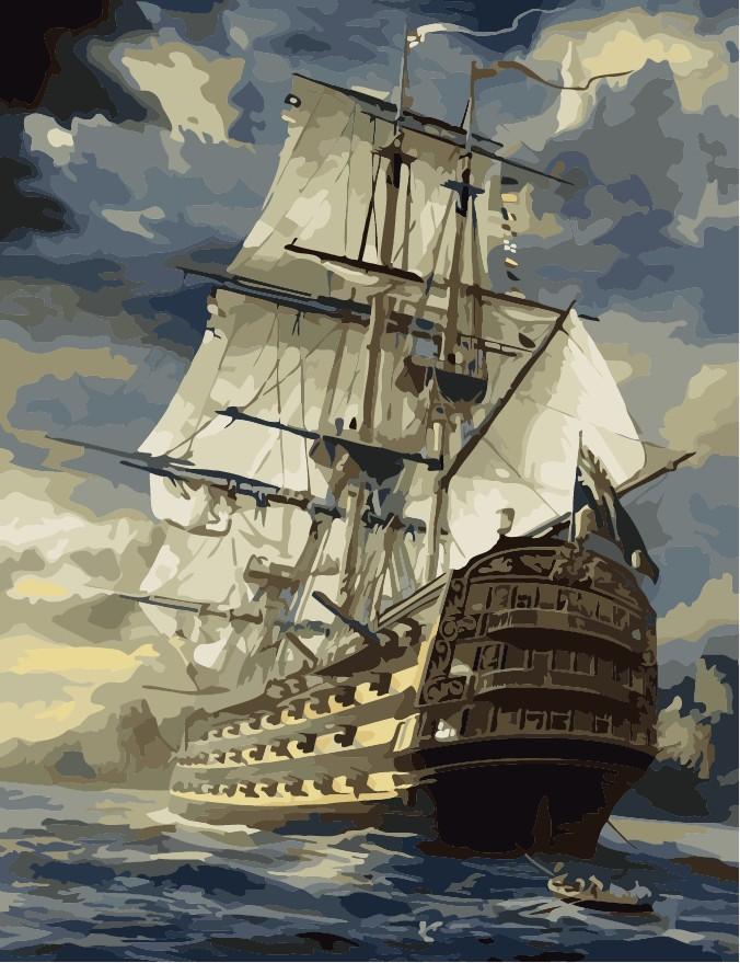 """MG519 ภาพระบายสีตามตัวเลข """"เรือสำเภามหาสมบัติ"""""""