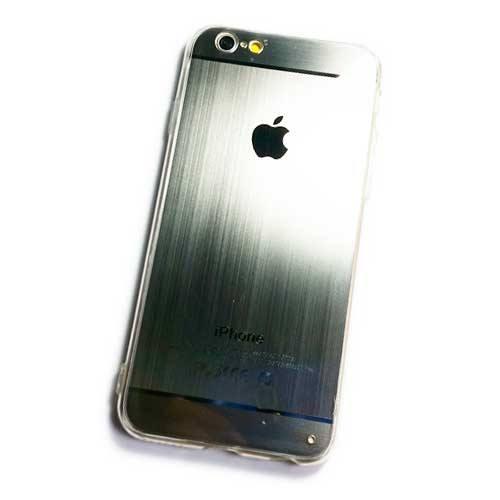 เคสไอโฟน 6/6S ขอบยาง หลัง Apple (สีเงิน)