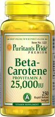 Puritan's Pride - Beta-Carotene (Provitamin A) 25,000 IU - 250 Softgels