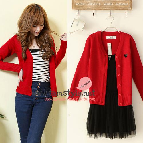Coat-021เสื้อคลุมไหมพรม play สีแดง คอวี สวยอินเทรนด์ต้อนรับอากาศเย็น สวยสดใส น่ารักมากๆค่ะ