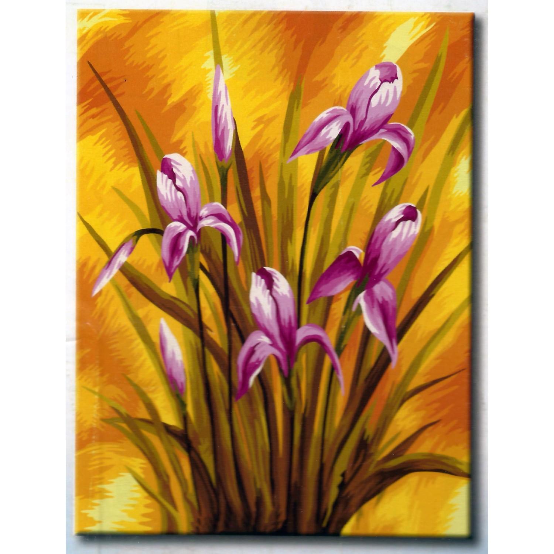 """TE134 ภาพระบายสีตามตัวเลข """"ดอกไม้สีม่วง"""""""