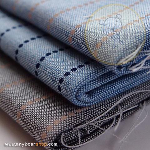 เซตผ้าฝ้ายโทนสีฟ้าลายทาง (1/8 หลา ) 3 ชิ้น