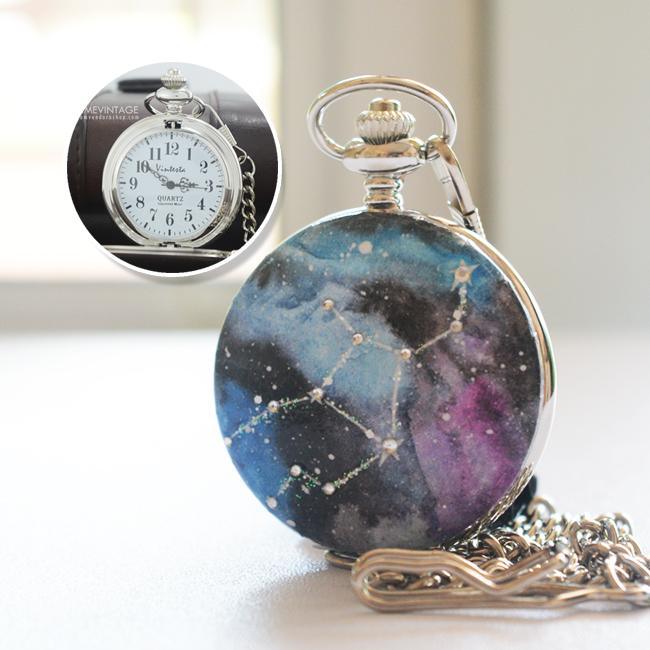 นาฬิกาพกราศีกันย์ ของขวัญตามราศีเกิด ระบบถ่านควอทซ์ญี่ปุ่นประดับคริสตัวเรียงตามดวงดาว