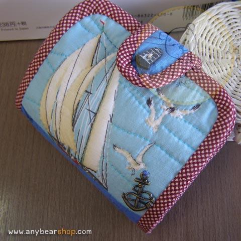 กระเป๋าสตางค์พับงานควิลท์+กระเป๋าปิ๊กแป๊ก seascape