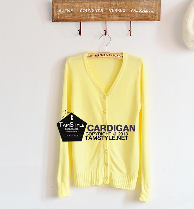 """Coat-070 เสื้อคลุมไหมพรมกระดุมมุก แขนยาวสีเหลือง ผ้านิ่มใส่สบาย กันแดด กันลมสบายจ้า อก 35"""" ยาว 24 """" (เสื้อคลุมพร้อมส่ง)"""