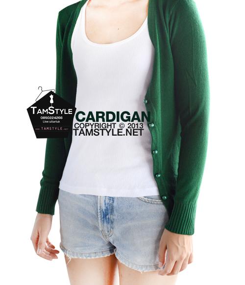 """Coat-083เสื้อคลุมไหมพรมกระดุมมุก แขนยาวสีเขียวเข้ม ผ้านิ่มใส่สบาย เป็นเสื้อกันหนาว กันแดด กันลมสบายจ้า อก 34 """" ยาว23 """" (เสื้อคลุมพร้อมส่ง)"""
