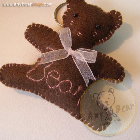 ตุ๊กตาหมีพวงกุญแจ สูง 8 cm.ผ้าสักหลาด flower02 - สีน้ำตาลเข้ม