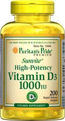 Puritan's Pride - Vitamin D3 1,000 IU 200 Softgels