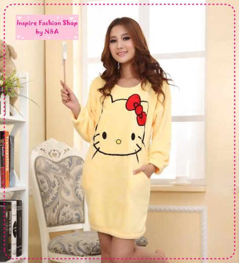 [Preorder] ชุดนอนเดรสกระโปรงแขนยาวแฟชั่น Hello Kitty สีเหลือง Ms. autumn and winter coral fleece pajamas nightgown new cute hello kitty thick tracksuit