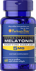 Puritan's Pride - Extra Strength Melatonin 5 mg 60 Softgels