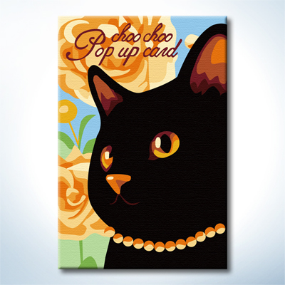 """TC087 ภาพระบายสีตามตัวเลข """"คุณนายแมวดำ"""""""
