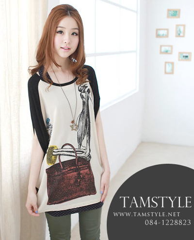 ***หมดค่ะ Top007-เสื้อแฟชั่นเกาหลี เสื้อแฟชั่นเกาหลี-สีดำ ((สินค้าพร้อมส่ง))
