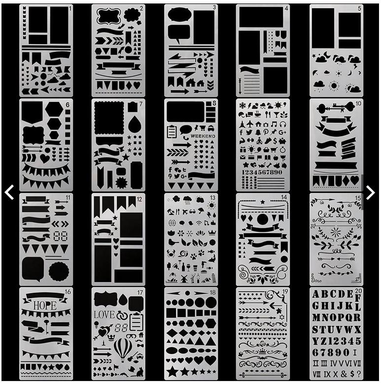 วาดภาพ วาดแม่แบบลายฉลุสำหรับสมุดบันทึกกราฟิก Stencils ชุด 20 ชิ้น DIY