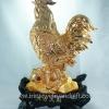 ไก่ทองมงคล 12 นิ้วบนฐานไม้