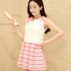 เสื้อผ้าแฟชั่น 2 ชิ้น เสื้อแขนกุดเอวลอย สีขาวแต่งดอกไม้สีชมพูที่ไหล่เล็กๆ + กระโปรงตัวสั้นลายริ้วสีชมพูพาสเทล ชุดนี้น่ารักม๊ากมากค่ะ ไซส์ M