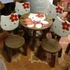ลายคิตตี้ รุ่นมีพนักพิง โต๊ะ ขนาด 18*20 นิ้ว จำนวน 1 ตัว เก้าอี้ ขนาด 10*10 นิ้ว จำนวน 4 ตัว ผลิตจากไม้จามจุรี รับน้ำหนักได้ถึง 70 กก.