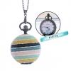 ล็อคเก็ตนาฬิกาสร้อยคอ ขนาดกลาง ลาย พาสเทล- Pastel Strip ระบบถ่านควอทซ์ญี่ปุ่น (สั่งทำ)