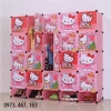 ตู้ DIY ลายการ์ตูน Hello Kitty ข้างตู้มีสีชมพู//ฟ้า//แดง/ขาวใสลายเส้นขนาดช่องละ 37x37 ซม. รับน้ำหนักได้ช่องละประมาณ 10-15 กิโลกรัม (ขนาด 12 และ 16 แถมชั้นวางรองเท้า)