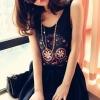 (พร้อมส่ง)เสื้อกล้าม สีดำ สกรีนลายกะโหลกเก๋ๆ ผ้าเนื้อดี สวมใส่สบาย แฟชั่นเกาหลี
