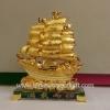 เรือสำเภาใบสีทองฐานแก้ว8นิ้วsl039
